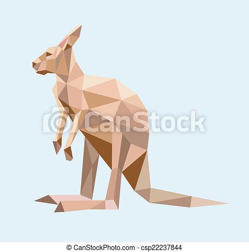 Kangaroo low poly style - csp22237844