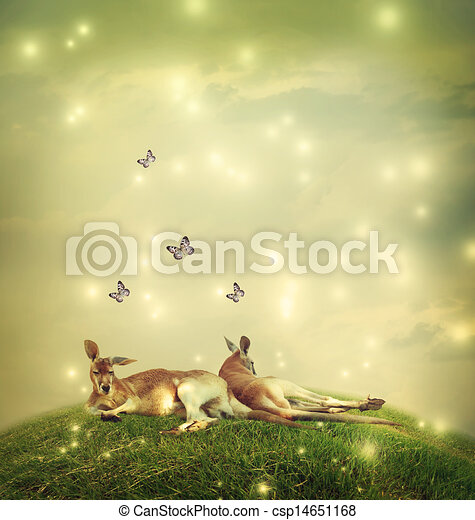 Kangaroos in a fantasy landscape - csp14651168