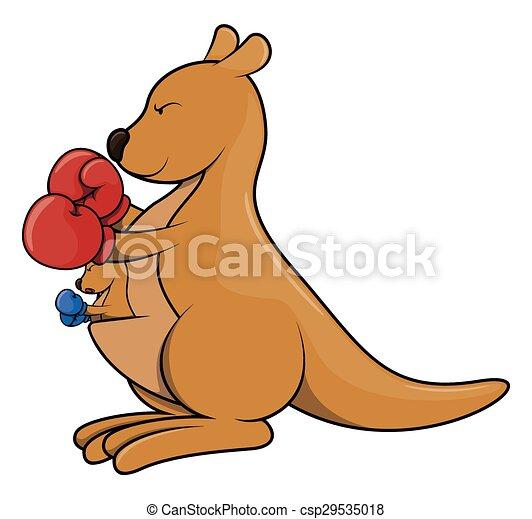 Dessin Kangourou kangourou, boxe, dessin animé. kangourou, boxe, isolé, illustration