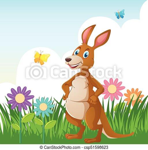Kangourou Jardin Fleur Illustration