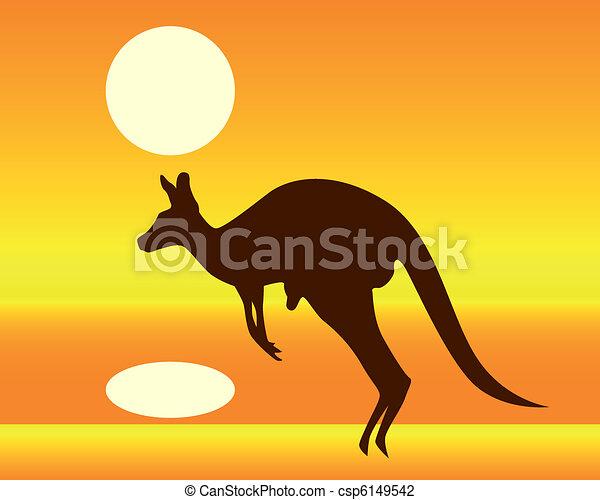 kangourou, silhouette - csp6149542