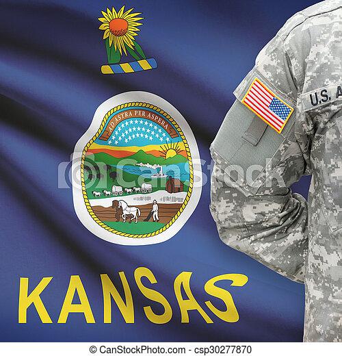 kansas, -, állam, bennünket, katona, lobogó, háttér, amerikai - csp30277870