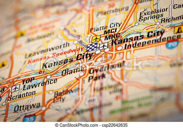Kansas city, usa. Map photography: kansas city on a road map.