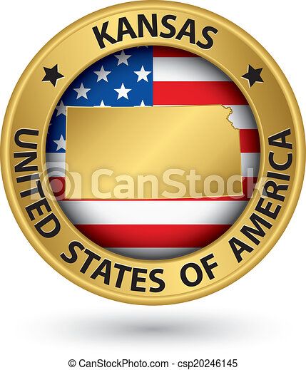 kansas state gold label with state map vector illustration