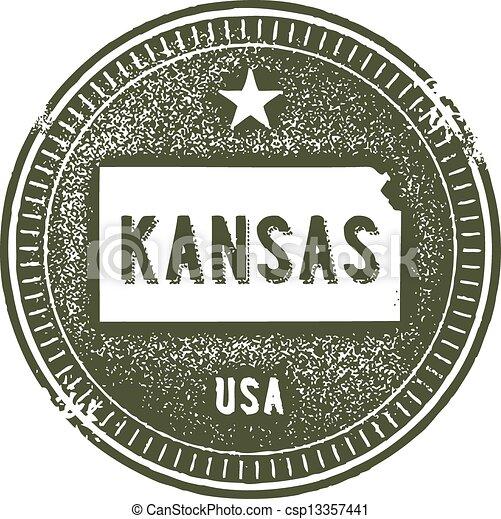 Kansas USA State Stamp - csp13357441