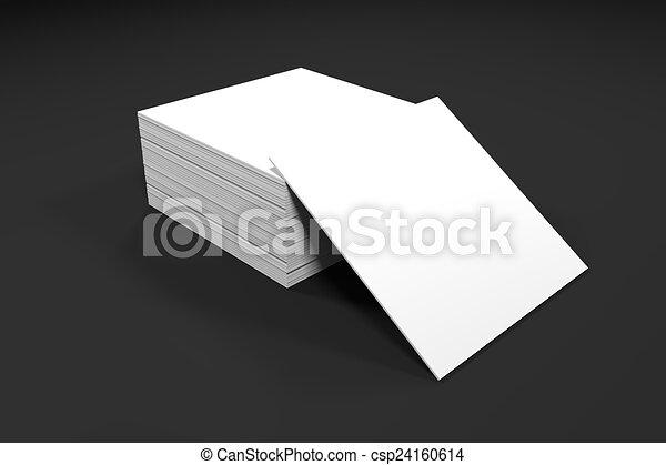 kantoor, papier, bureau, kaarten, witte , stapel - csp24160614