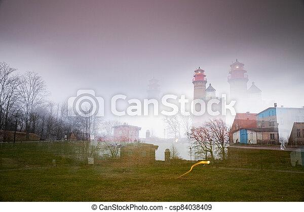 Kap Arkona lighthouse in abstract multi-exposure - csp84038409