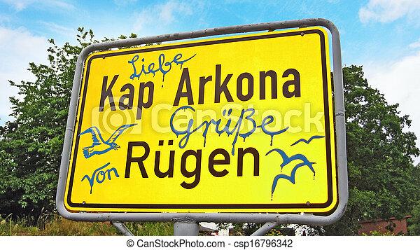 Kap Arkona, Sign with greetings - csp16796342