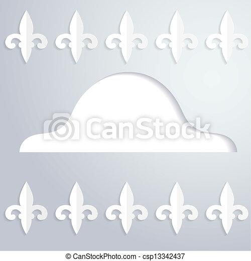 kapelusz, abstrakcyjny, sylwetka, podniesiony, tło - csp13342437