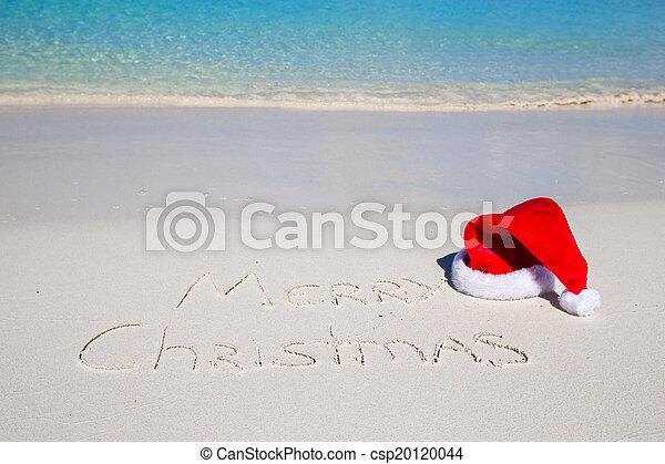 kapelusz, pisemny, boże narodzenie, tropikalny, piasek, wesoły, biała plaża, boże narodzenie - csp20120044