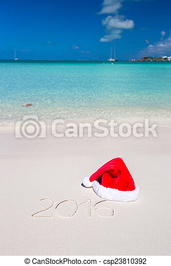 kapelusz, pisemny, tropikalny, piasek, biały, 2016, plaża, boże narodzenie - csp23810392