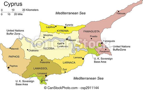 Karta Famagusta Cypern.Kapitalen Administrativ Cypern Omraden Alla Farg