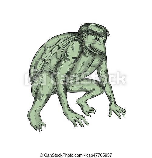 Kappa Monster Crouching Tattoo - csp47705957