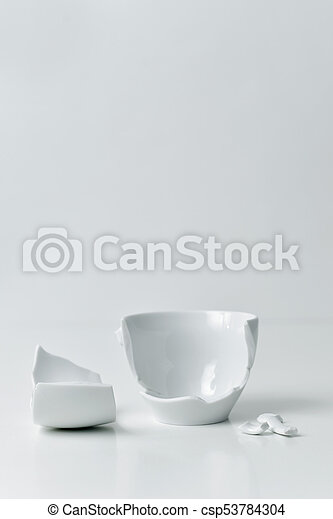 Kaputte Weisses Keramisch Coffe Tasse Raum Becher