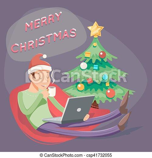 karácsony, kávécserje, tea, laptop, ábra, karikatúra, geek, buzgó, vektor, tervezés, retro, ember, hódprém, iszik, jelkép, ikon - csp41732055