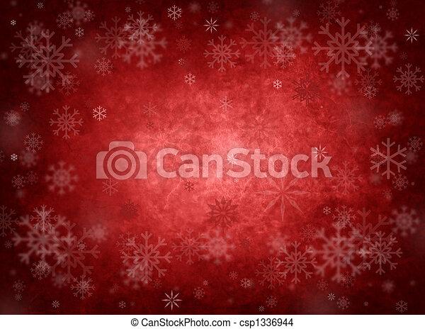 karácsony, piros háttér, jég - csp1336944