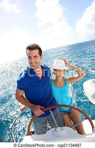 karaibski, żeglując, para, jacht, młody, morze - csp21134497