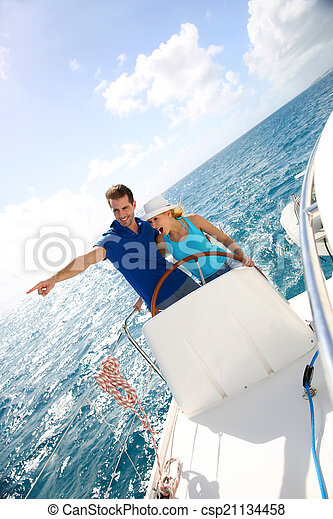 karaibski, żeglując, para, jacht, młody, morze - csp21134458