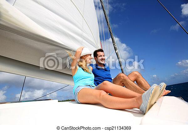 karaibski, para, radosny, morze, krążąc po morzach, katamaran - csp21134369
