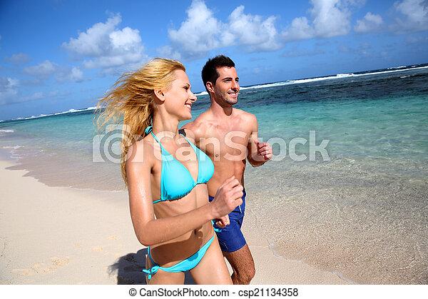 karaibski, wyspa, para, wyścigi, plaża, piaszczysty - csp21134358