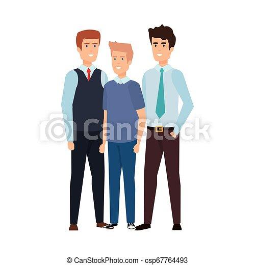 karakters, mannen, groep, avatars, zakelijk - csp67764493