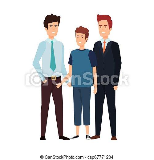 karakters, mannen, groep, avatars, zakelijk - csp67771204