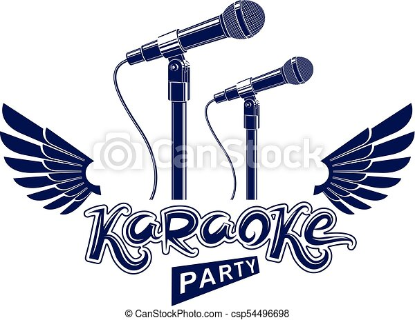 Karaoke party advertising poster, live music vector concert leaflet  composed using stage microphone and wings  Feel yourself like a star