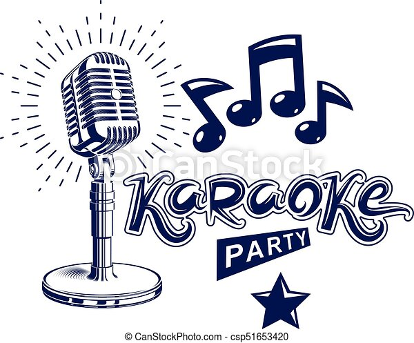 Karaoke party invitation poster live music vector concert karaoke party invitation poster live music vector concert advertising leaflet composed using stage or recorder microphone and musical notes stopboris Image collections