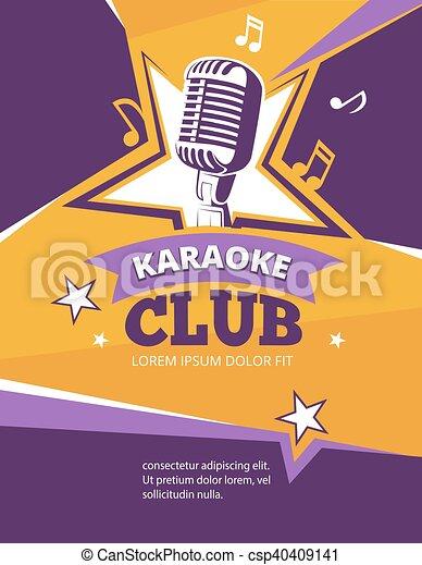 karaoke party vector poster music karaoke club banner with retro