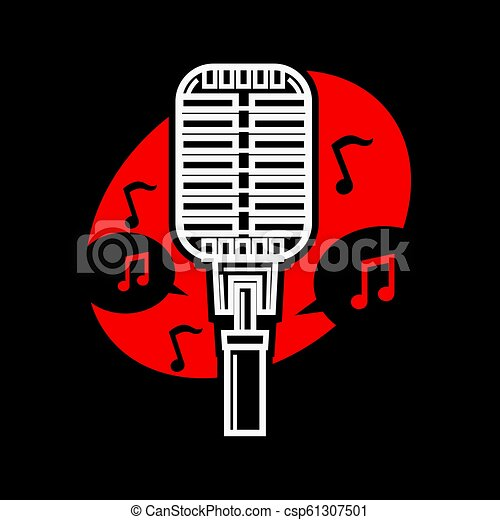 Karaoke singing microphone mic with notes isolated vector