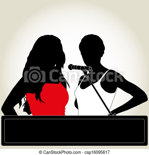 Karaoke. Silhouettes of two singers with microphone.   450 x 470 jpeg 22kB