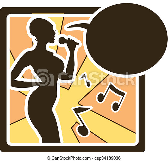 Karaoke woman logo in vector sing song, music silhouette icons, sign, tag,  label
