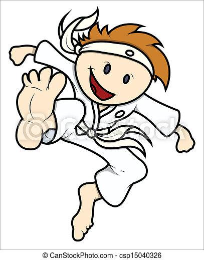 karate, carino, vettore, capretto - csp15040326
