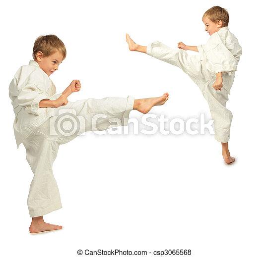 karate, fiú, lábfej, megrúg - csp3065568