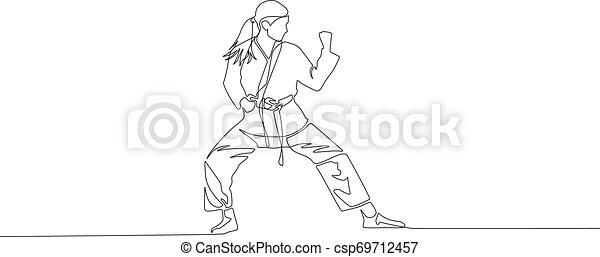 Karate Girl Is Standing In A Fighting Pose Continuous Line Drawing Vector Illustration Karate Girl Is Standing In A