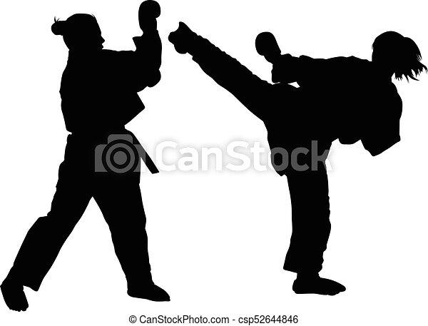 Karate Girl Silhouette