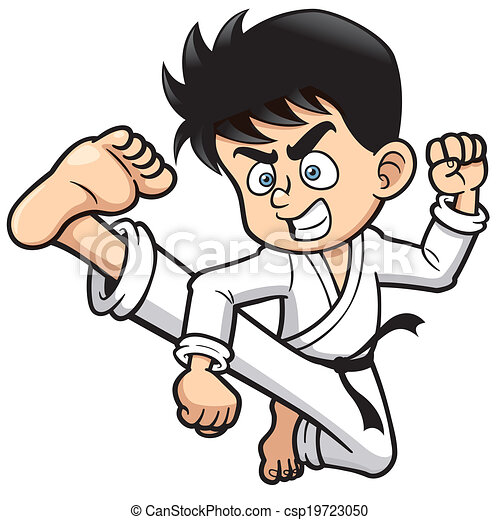 vector illustration of boy karate kick clipart vector search rh canstockphoto com karate clipart black and white karate clip art free