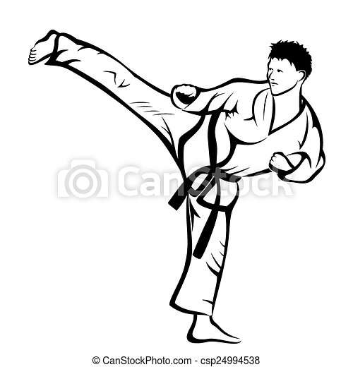Vector Illustration Karate Kick On A White Background