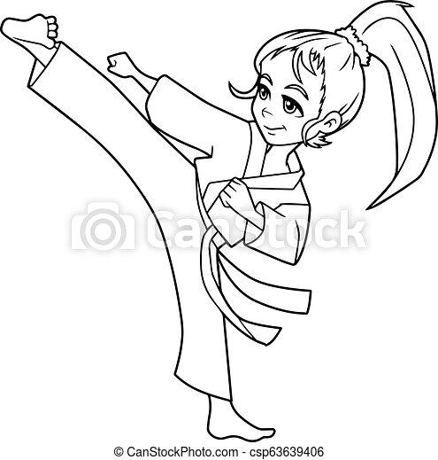 Karate Kick Girl Line Art Full Length Line Art Illustration Of Skilled Girl Exercising Balance And Flexibility During Karate