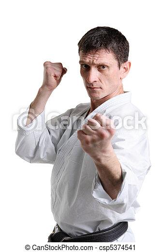 Karate. Man in a kimono with a white background - csp5374541