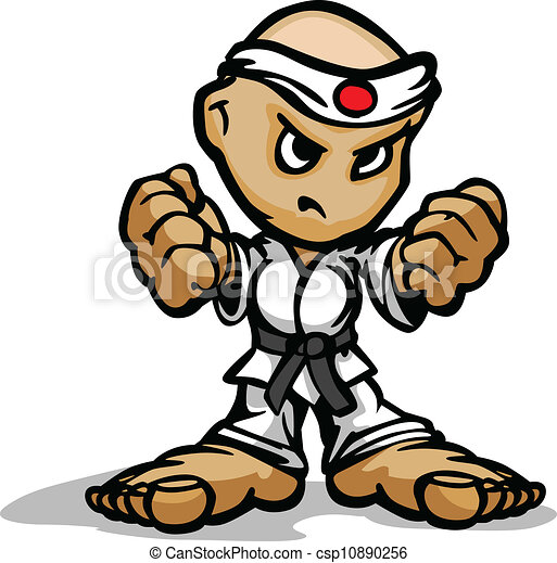 Karate Martial Arts Fighter Mascot with Determined Face and Fists Cartoon Vector Image - csp10890256