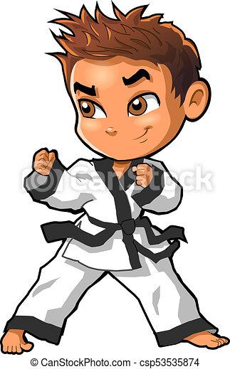 Karate martial arts tae kwon do dojo vector clipart cartoon Boy Stance - csp53535874