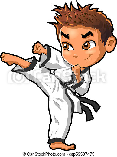 karate martial arts tae kwon do dojo vector clipart cartoon boy kick rh canstockphoto com taekwondo clip art black and white taekwondo kick clipart