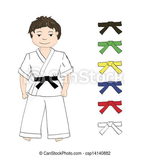 Karate, niño, coloreado, cinturones. Niño, coloreado, cinturones ...