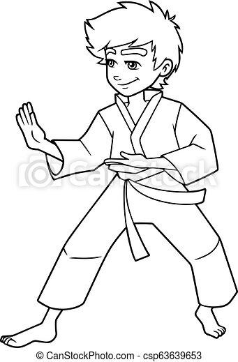 Karate Stance Boy Line Art Full Length Line Art Illustration Of Determined Boy Wearing Karate Suit While Practicing Martial