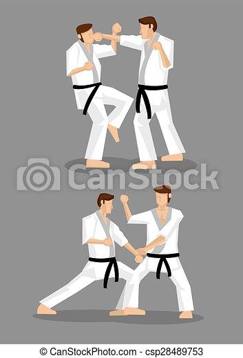 Karate Taekwondo Sparring Vector Illustration