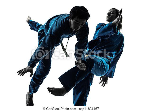 karate vietvodao martial arts man woman couple silhouette - csp11831467