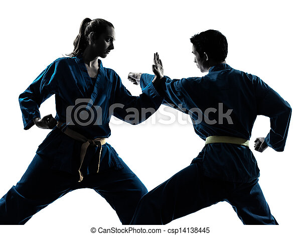 karate vietvodao martial arts man woman couple silhouette - csp14138445