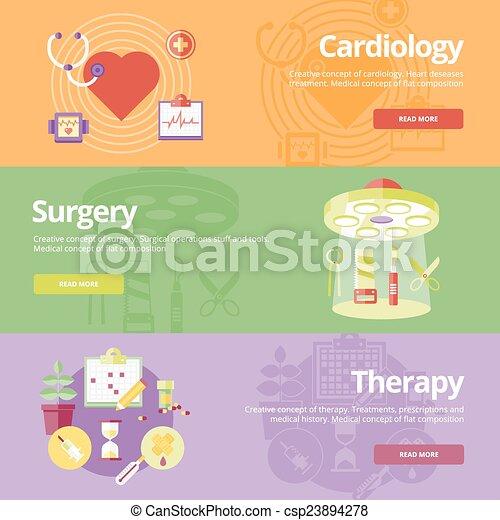kardiologia, płaski, komplet, sieć, medyczny, operacja, projektować, pojęcia, druk, chorągwie, materials., therapy. - csp23894278