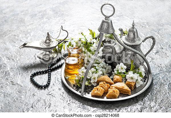 kareem., mubarak, lebensmittel, decoration., ramadan, feiertage, islamisch, eid - csp28214068